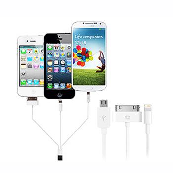 Cabo carregador e sincronizador 4 em 1 (iphones 3,4 e 5 , Samsung e micro usb)
