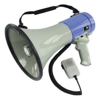 Megafone de 25w com microfone de mão e sirene