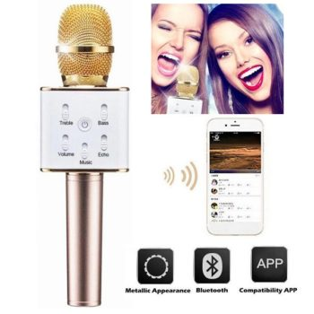 Microfone c/ Coluna Bluetooth Karaoke Wireless