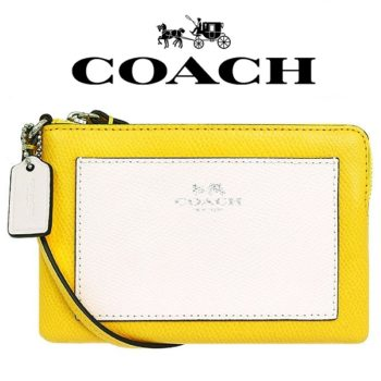 Carteira Coach Colorblock Silver/Canary