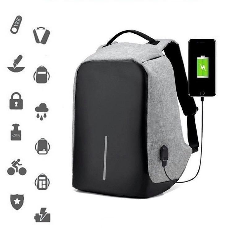 Mochila anti furto para notebook com adaptador para carregador de smartphone
