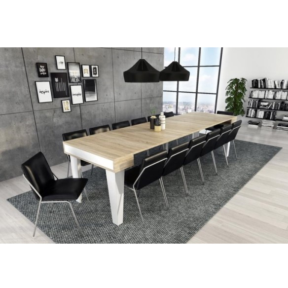 Mesa de Jantar Consola Extensível Nordic KL Branco e Carvalho